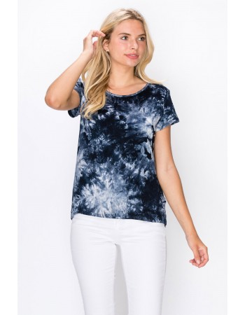 Tie Dye Short Sleeve Button Back Blue Multi